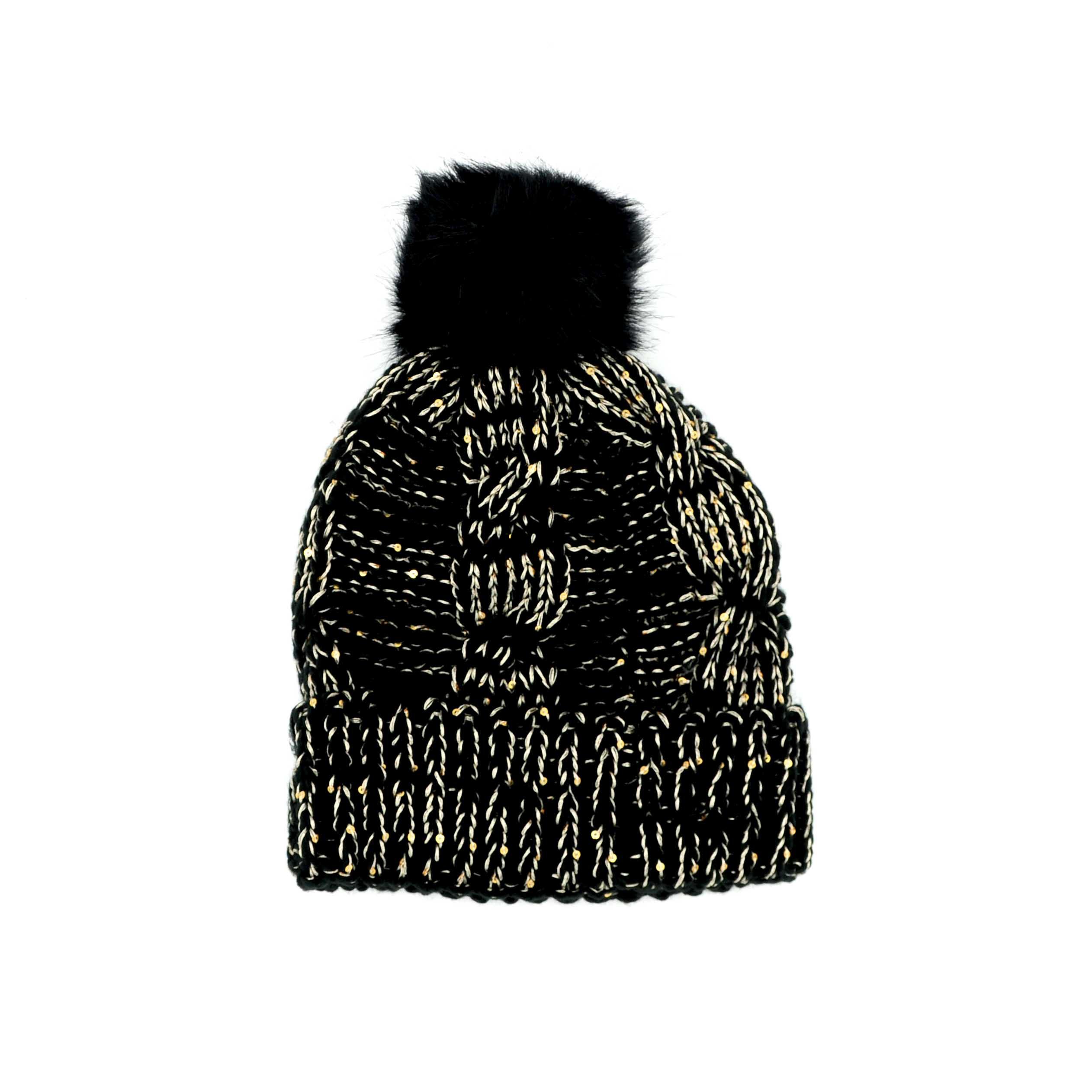 bonnet noir argent avec pompon caprice des neiges. Black Bedroom Furniture Sets. Home Design Ideas
